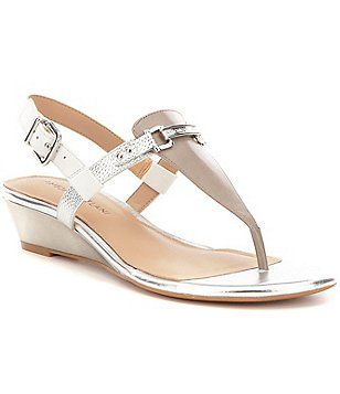 e23befb57f0 Antonio Melani Amirah Metallic Leather T-Strap Slingback Wedge Sandals