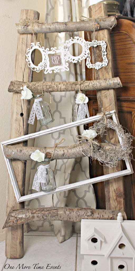 Rustic Wood Ladder Decor With Diy Shabby Chic Frames Shabby Chic Decor Diy Rustic Shabby Chic Decor Shabby Chic Decor
