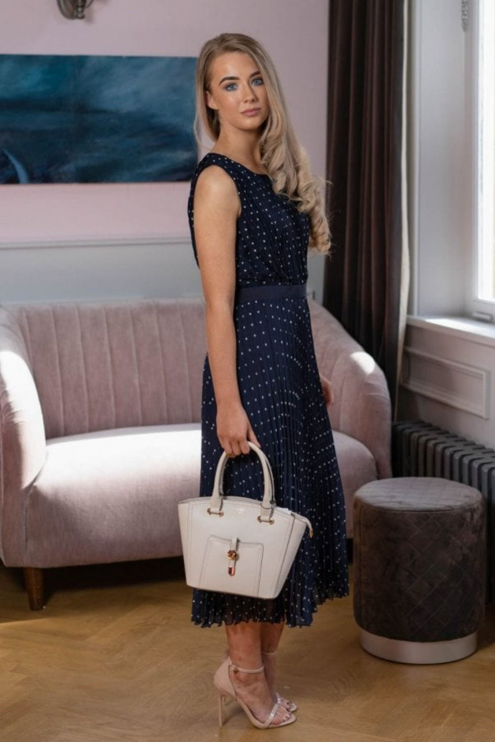 9480d53c Part Two Pallas Polka Dot Midi Dress | Dark Blue now only £129.50 Available  both