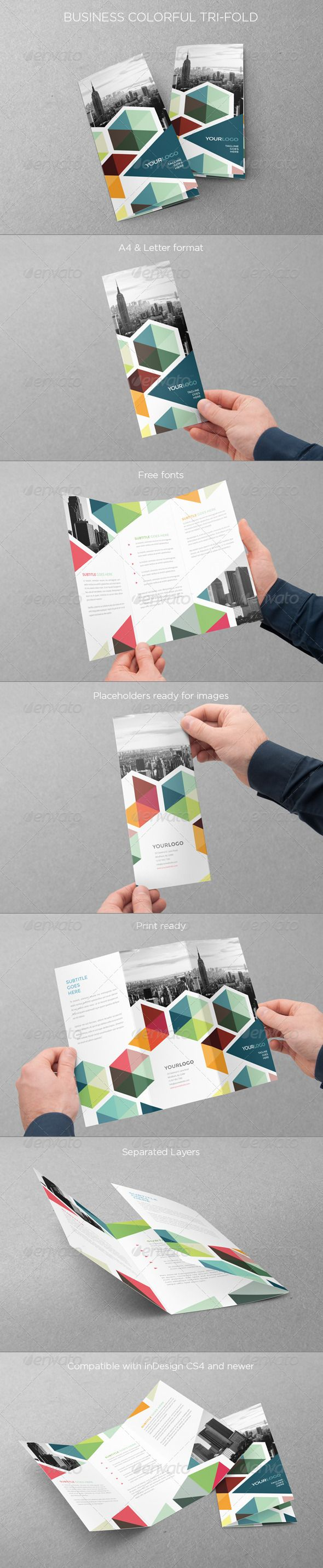 business colorful trifold indesign templates print templates and