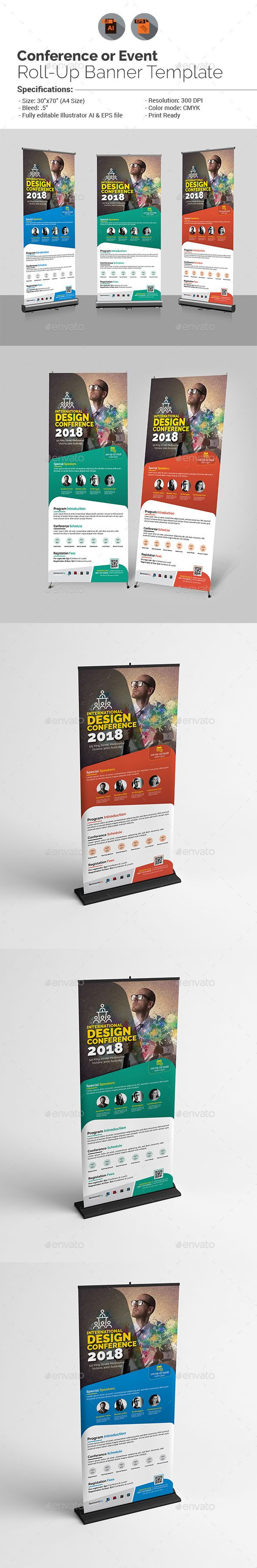 Conference or Event Roll-Up Banner Template | Banner template ...
