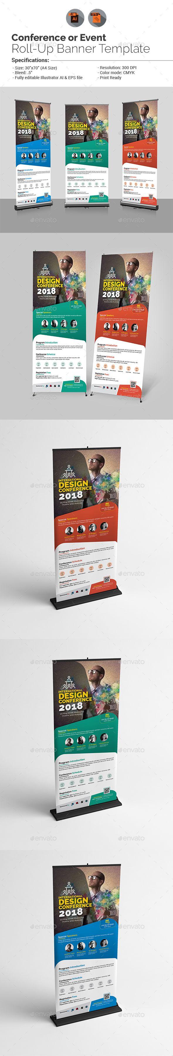 Design large banner in illustrator - Conference Or Event Roll Up Banner Ads Design Template Signage Rollup Print Design Template