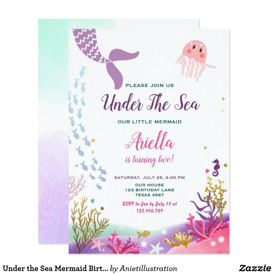 Under the Sea Mermaid Birthday Invitation Purple | hails 7th bday ...