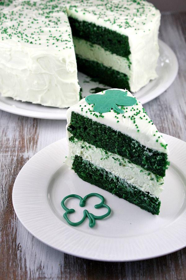 Green Velvet Cheesecake a great take on red velvet for St Patrick's day!