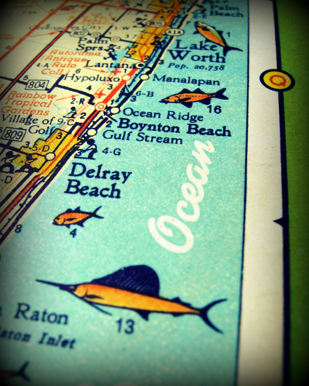 Delray Beach Florida Map.Florida Map Photography Delray Beach Retro By Vintagebeachmaps