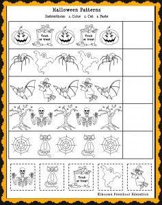 Patterns Math Worksheet For Halloween Halloween Math Worksheets Halloween Worksheets Halloween Math