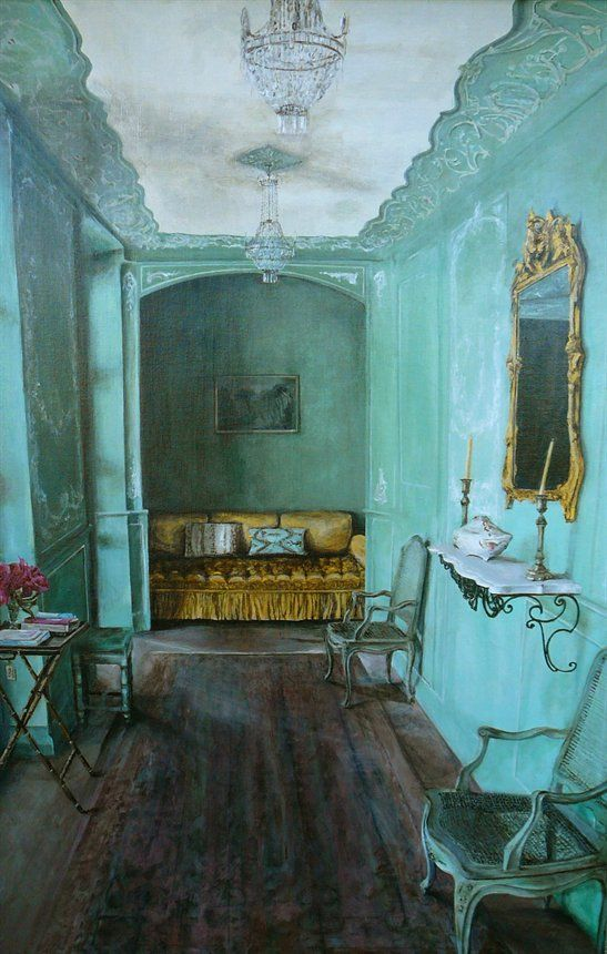 French sunroom.  Natalie Michelle bohemian chic turquoise boheme