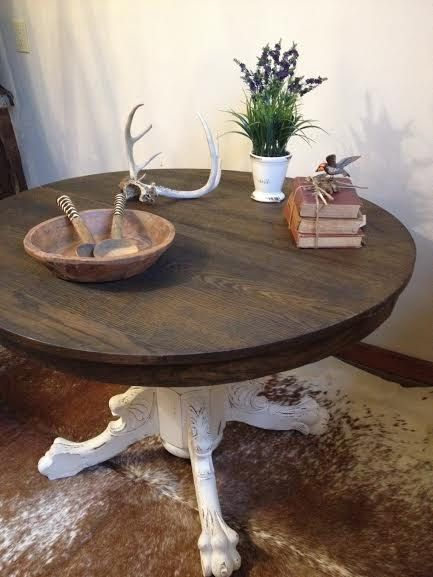 Gorgeous Round Clawfoot Dining Table With An Ebony Top Round