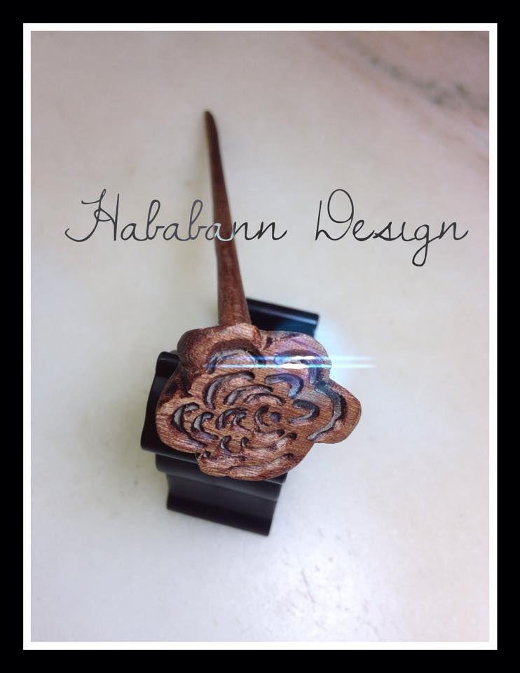 Hand carved mahagonay harpin.