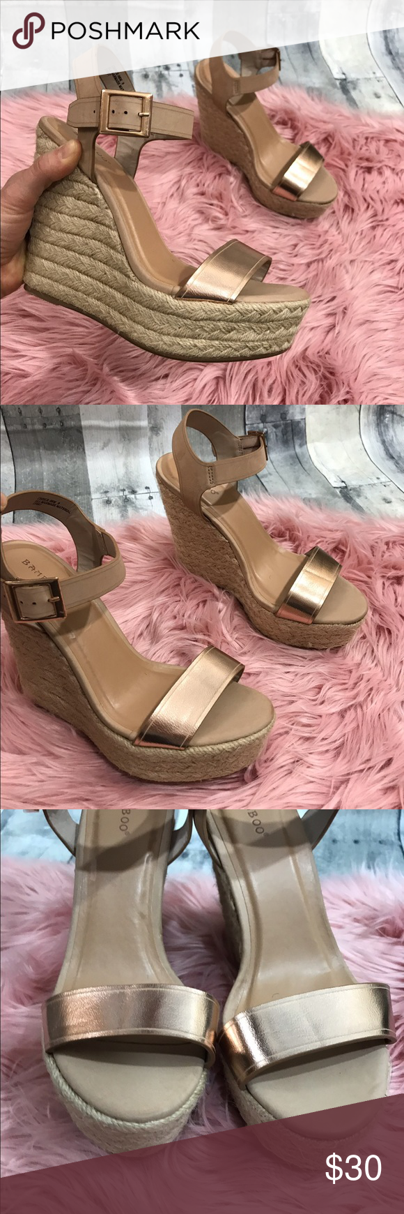 57cbfd65fbd Bamboo tan rose gold espadrilles Excellent used condition Only worn a  handful of times Tan