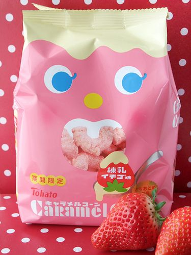 Tohato Caramel Corn Strawberry 3 3 3 3 3 Japanese Food Packaging Japanese Packaging Candy Packaging