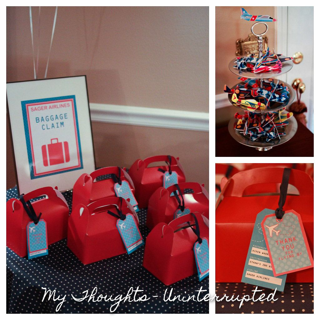 "Airplane Birthday Party Favor Tags: Love The Favor Boxes & Tags ""Baggage"