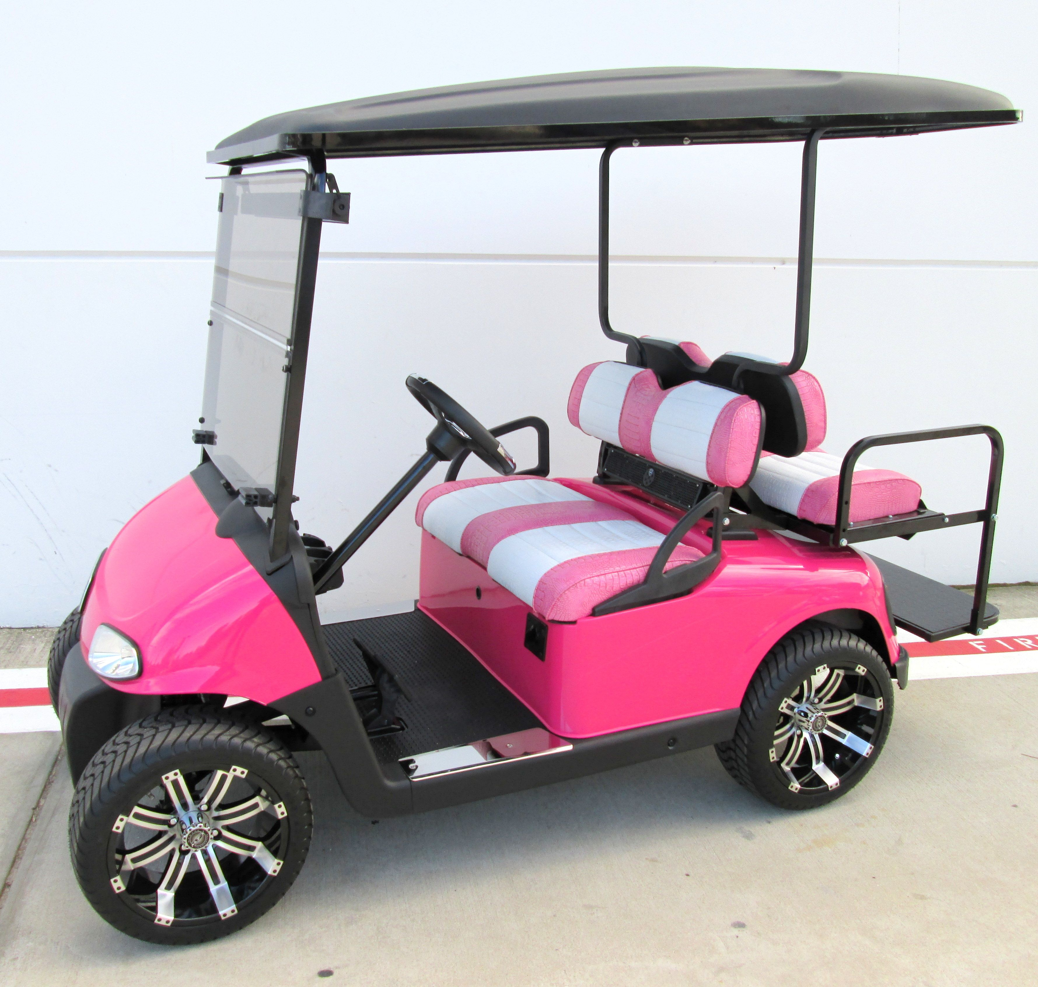19TH HOLE GOLF CARTS - HOT PINK EZGO GOLF CART WITH CUSTOM ... Ezgo Golf Cart Videos Luxury Carts Parked on