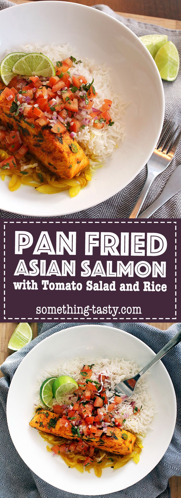 Pan Fried Asian Salmon – An easy and delicious family friendly meal that can be made in under 30 minutes! From Something Tasty Blog