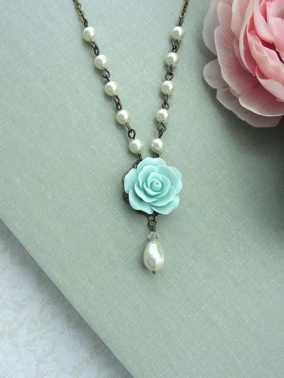 Mint Rose Flower Ivory Pearl Drop Necklace Maid Of Honor Gifts Wedding Jewelry Bridesmaid