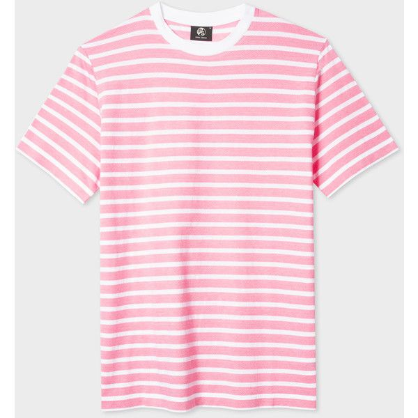 94804a319 PS Paul Smith Men's Pink And White 'Zig-Zag' Stripe T-Shirt ($48 ...