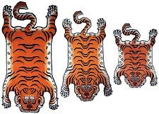 TIGER RUG Carpet Tibet Tibetan Small Medium Large extra stripe orange skin Nepal