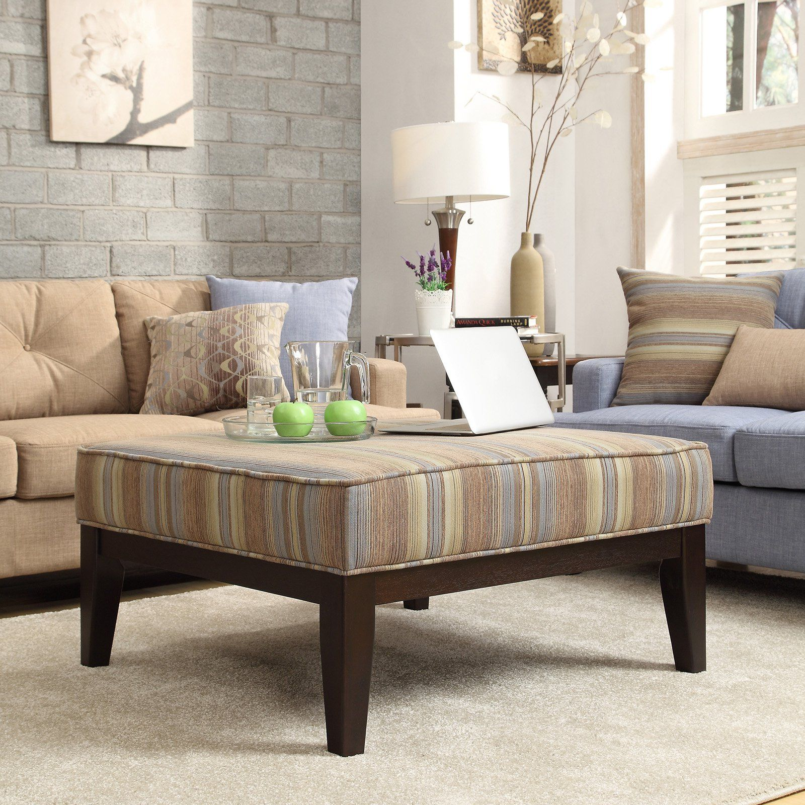 Inspire Q Blue Stripe Square Ottoman | from hayneedle.com