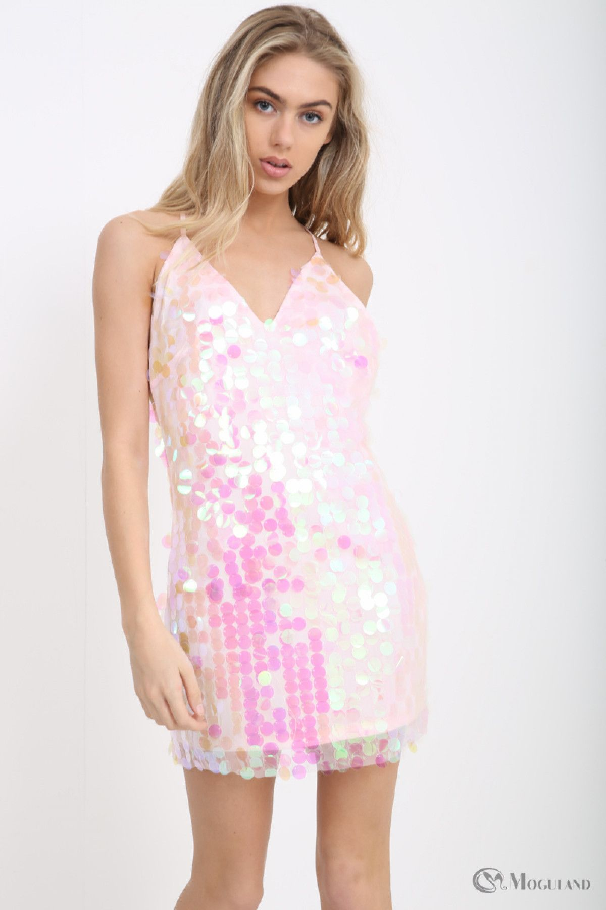 f5ebabb739 Ladies pink iridescent sequin strappy mini dress wholesale - Women s  Wholesale Clothing Supplier