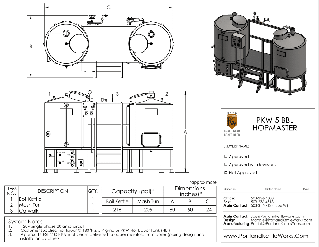 Portland kettle works 5bbl hopmaster schematic brewery for Brewery layout software