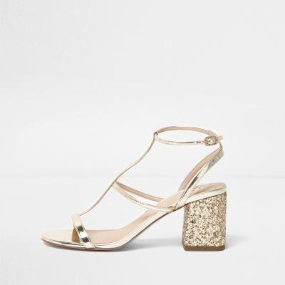 d71719f54d64 River Island Womens Gold caged glitter block heel sandals ...