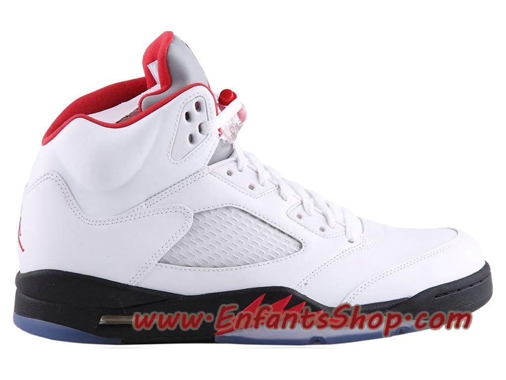 Air Jordan 5 Retro Chaussures Jordan Officiel Pas Cher Pour Homme Blanc  Rouge Noir 136027-