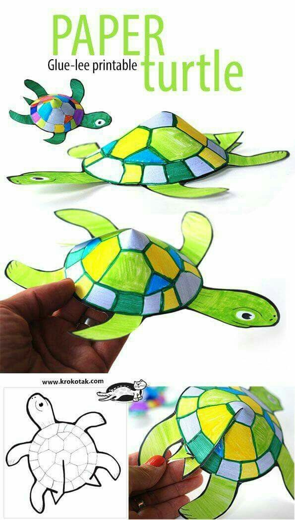 Snail and Turtle Are Friends. Glue-less printable paper turtle craft for kids!  sc 1 st  Pinterest & Pin by shaimaaahmed on وسائل تعليمية | Pinterest | Craft School and ...