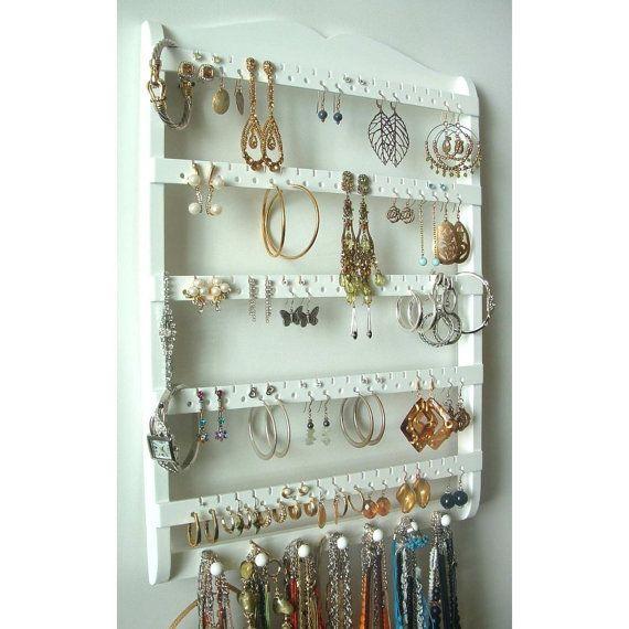 Jewelry Holder Earring Organizer Solid Oak Wood White Stain