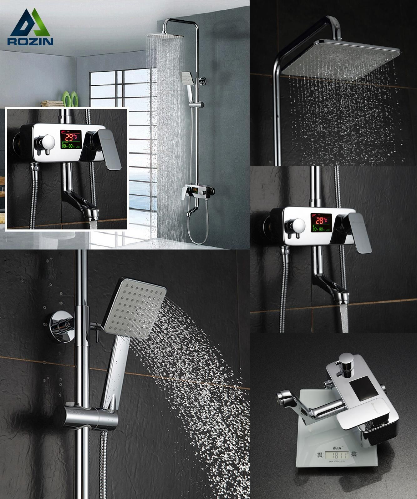 Visit to Buy] Digital Display Shower Faucet Water Powered Digital ...