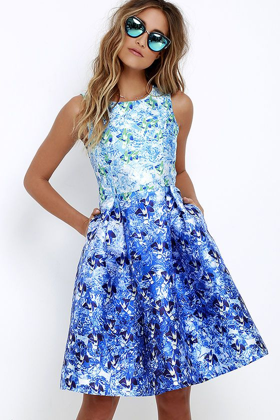 Here Comes the Sun Blue Floral Print Midi Dress | Midi dresses ...
