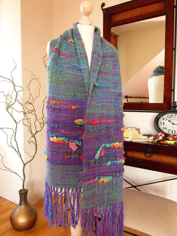 54ed54410d6 Handwoven wrap shawl with ribbons Woven alpaca wool silk womens ...