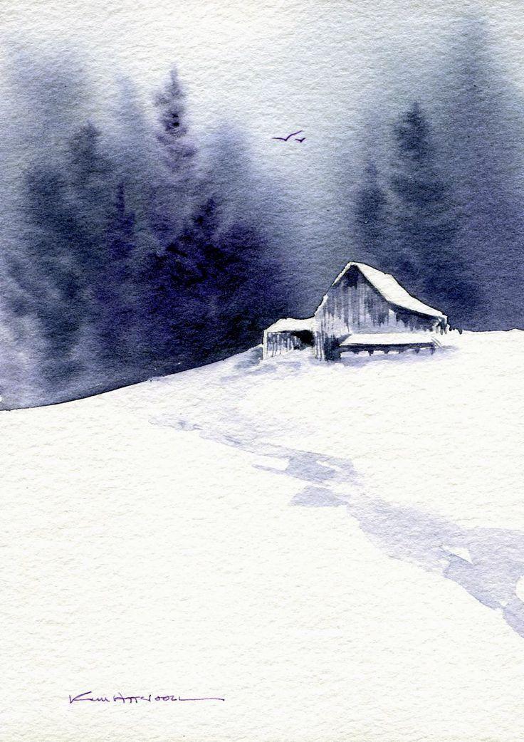 Scheune im Schnee, Aquarell von Kim Attwooll More - Künstler #landscapepics