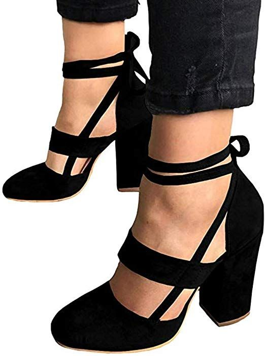 d2363a31181 Amazon.com  Huiyuzhi Womens Chunky Ankle Strappy Sandal Pumps Lace Up High  Heels (10 B(M) US