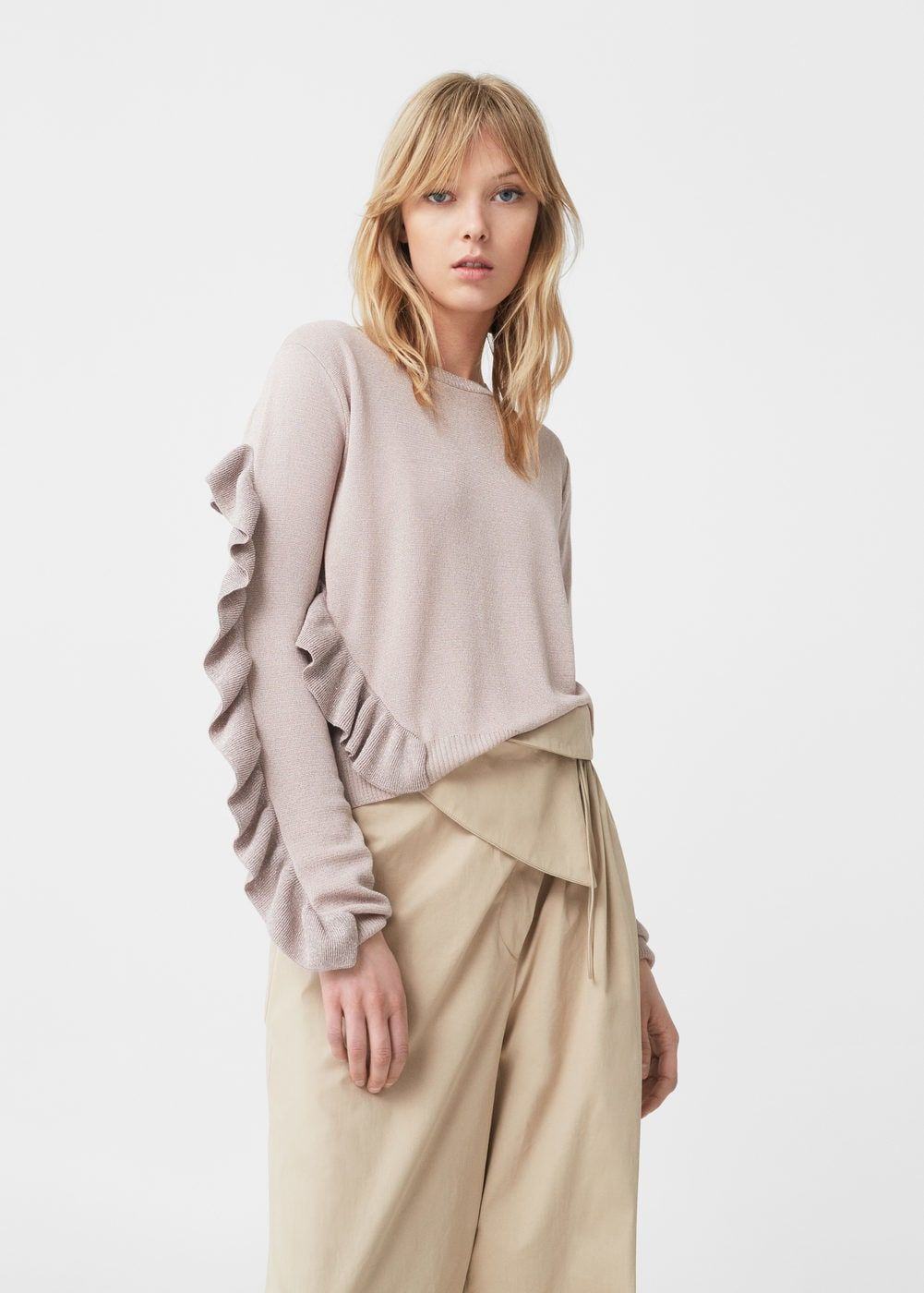 2eb2a2dc47ae Decortive frill detail Fabric with metallic thread Rounded neck Long sleeve  Cable knit finish