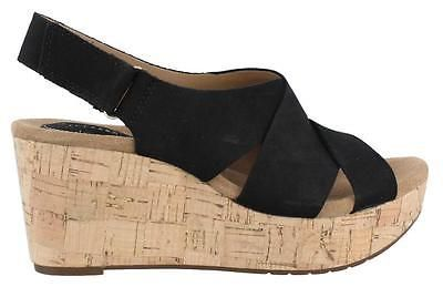 47e8a8425ed Clarks Caslynn Diem High Heel Wedge Sandal Leather Womens Sandals Mid To  High in Clothing
