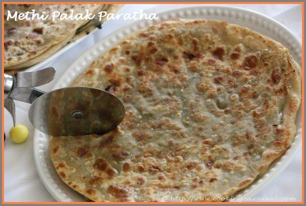 Today I thought of making Paratha using this both Methi and Palak, full of nutritious value. Named it as Methi Palak Paratha. This is very yummy. Once you try Methi Palak Paratha, you will make it again and again. Make it for breakfast, kids tiffin or light lunch or dinner. Serve it with curd or raita. This Paratha taste delicious hot as well as cold. The punch in the Paratha comes from the garlic. Methi, Spinach and garlic goes very well with each other.