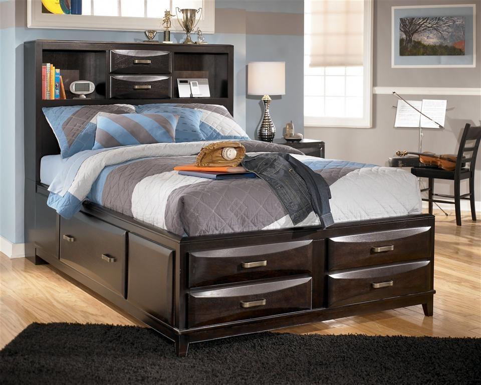 Black Finish Storage Bed w Footboard - Full Cool furniture