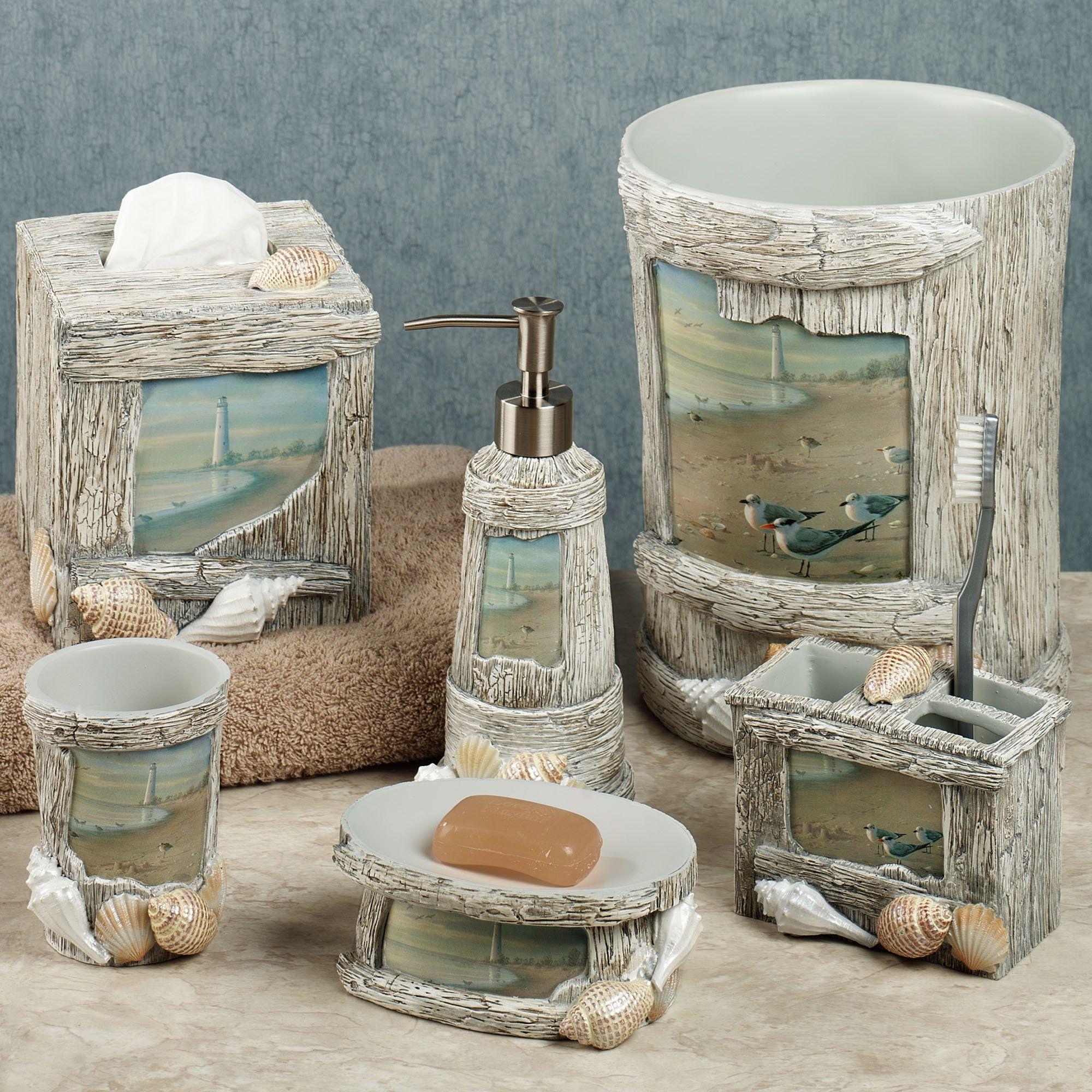 At The Beach Bath Accessories Beach Bathroom Decor Nautical