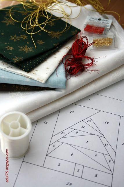 """всякие всякости...: Новогодняя гирлянда в технике """"paper piecing"""". Флажок первый"""