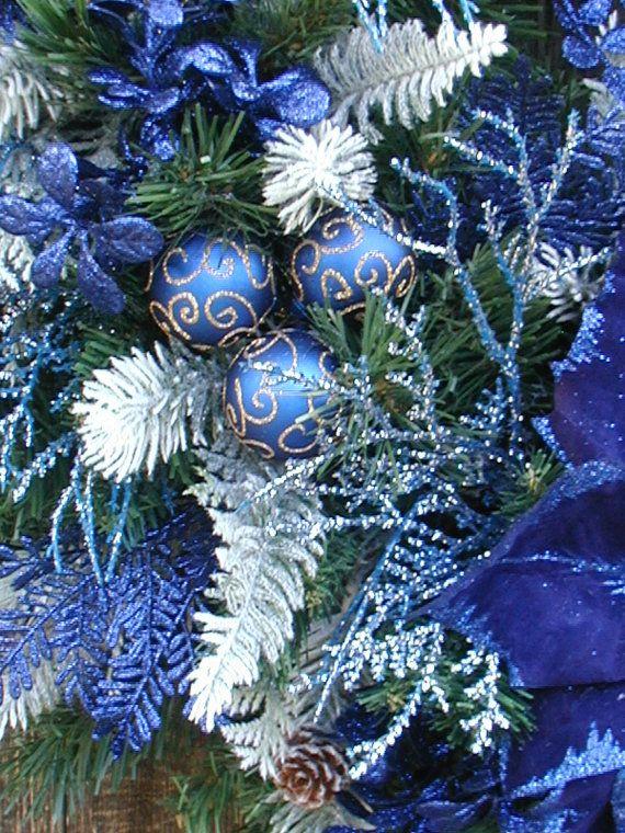 Christmas Wreath Winter Wreath Royal Navy Blue By Petalsnpicks Christmas Wreaths Blue Christmas Decor Blue Christmas Tree