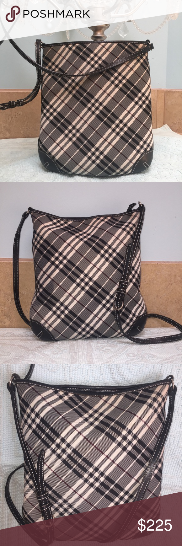 9319a41b5259 Auth Burberry Black Cross Body shoulder Bag Authentic Burberry from London  Blue Label division