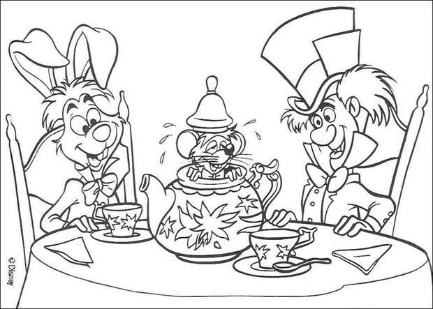 coloring page about alice in wonderland disney movie nice drawing of the tea time - Alice Wonderland Coloring Pages