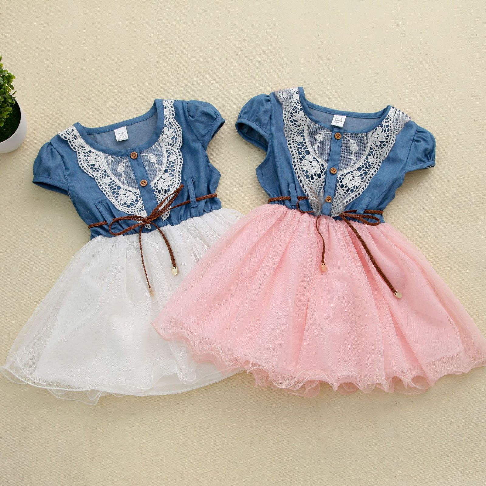 princess girls baby kids party lace belt denim tulle gown