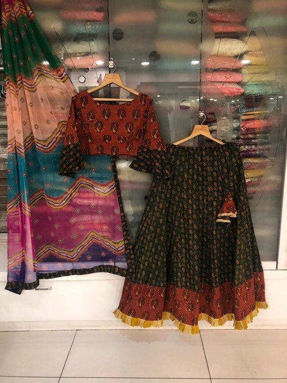 Dandiya Dance Wear Designer Cotton Chaniya Choli - Peacock Print Blouse - Multicolored Dupatta -Bollywood Style Lehenga Choli -Chaniya Choli #chaniyacholi
