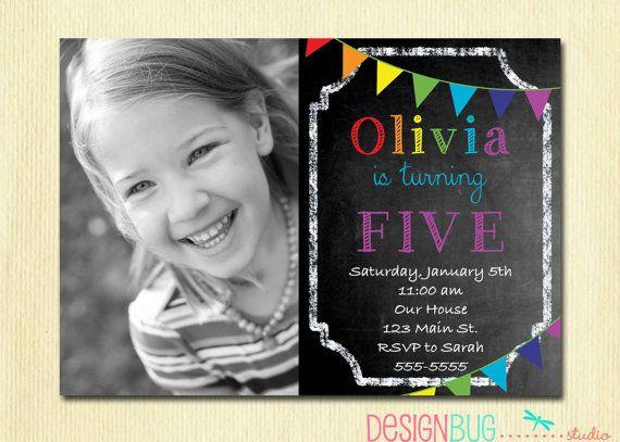 Rainbow Chalkboard Birthday Invitation