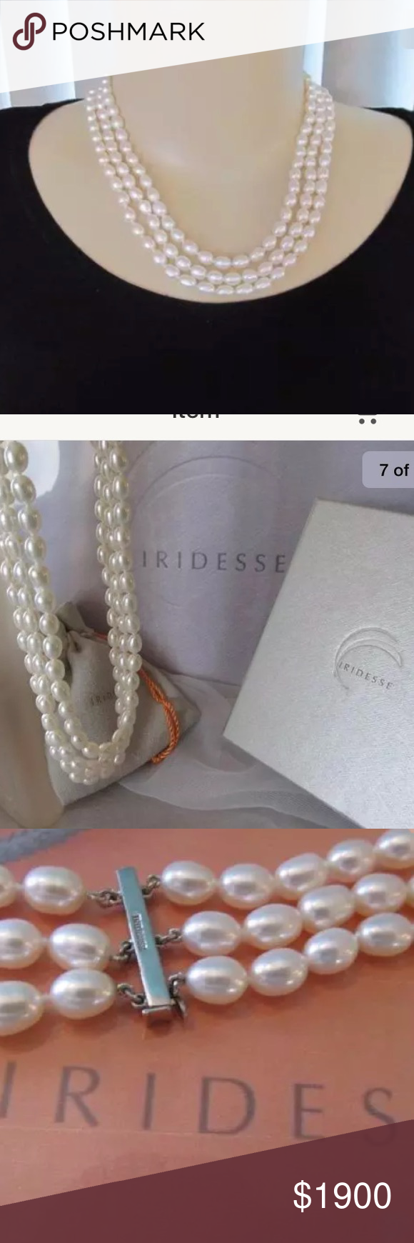 679035415 Tiffany Iridesse Pearl Triple Strand Necklace Tiffany & Co. Iridesse Pearl  Necklace With 925 Sterling Silver Clasp Tiffany & Co. Jewelry Necklaces