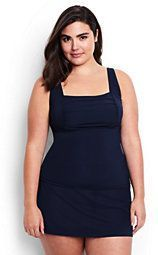 529442849320c Lands' End Women's Plus Size DDD-Cup Underwire Square Neck Tankini Top-Deep  Sea