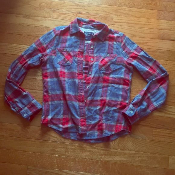 Flannel American eagle flannel, worn a handful of times! Blue red and gray American Eagle Outfitters Tops