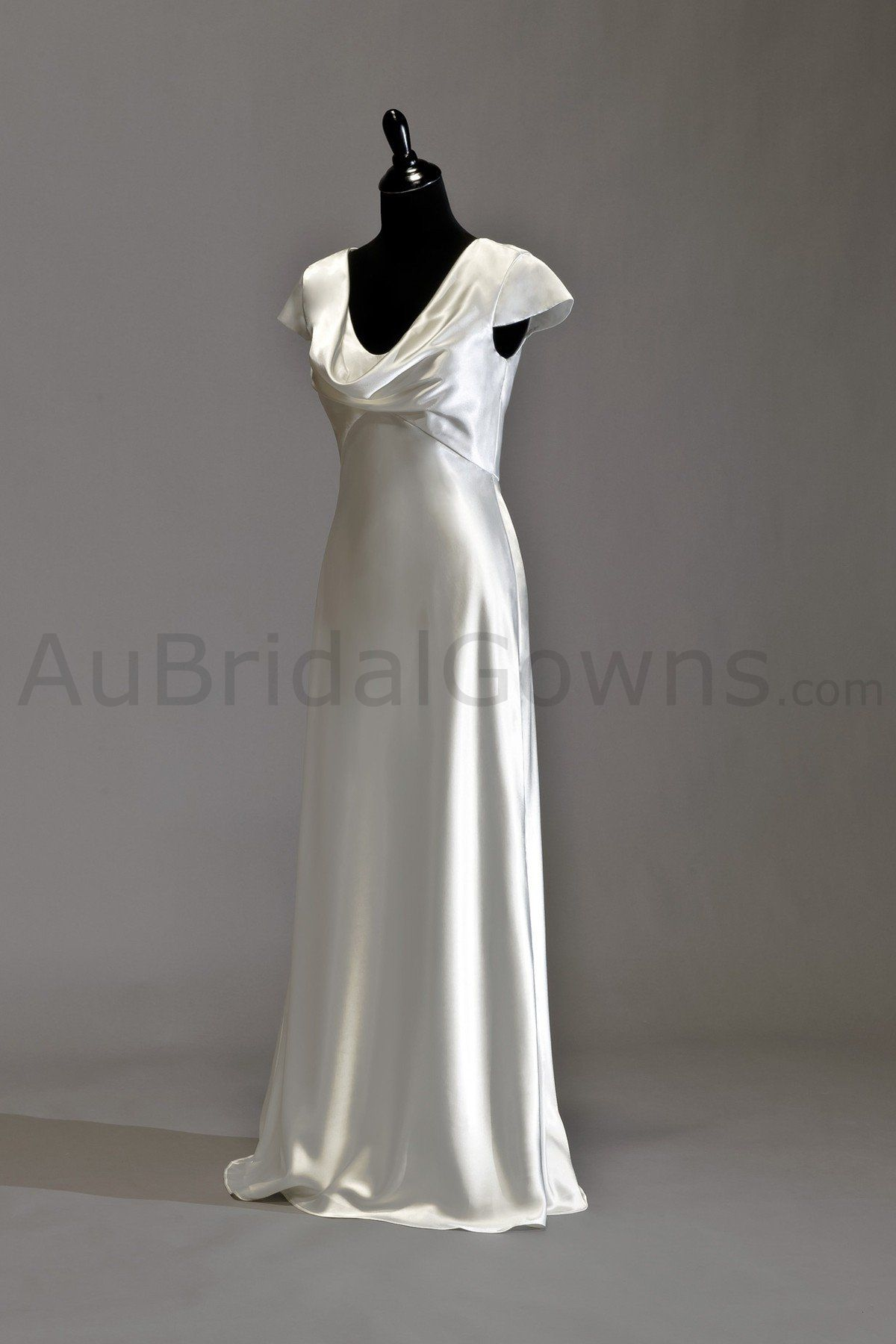 Charmeuse cowl neckline overlay with bias cut skir long special plus size wedding dresses cut on a bias ombrellifo Gallery