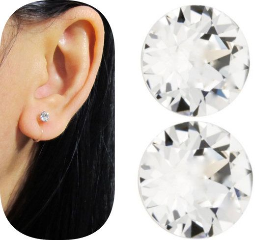 Tiny 4mm Swarovski Rhinestone Clip On Stud Earrings Cs28 Crystal Clear Ons Comfortable Wedding Non Pierced